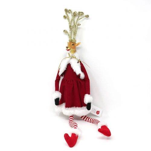 Renna con gambe lunghe Miss Babbo Natale rosso 51cm