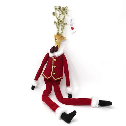 Renna con gambe lunghe Mr Babbo Natale rosso 51cm