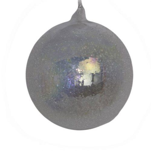 Sfera di vetro innevata iridescente